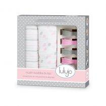Muslin Swaddle & Clips – Pink
