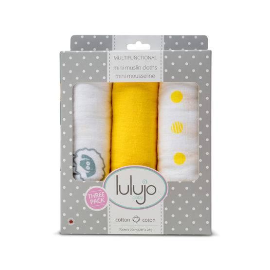Mini Muslin Cloth – Sunshine Yellow 3 Pack