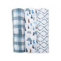 3 Pack Cotton Swaddles – Navy Mountain