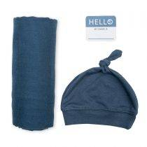 Bamboo Hat and Swaddle Blanket – Navy